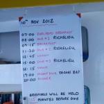 2012-11-10 Dive schedule